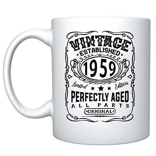 Veracco Vintage Established 1959 Perfectly Aged Ceramic Coffee Mug 60th Birthday Gift For Him Her Sixty and Fabulous (1959, Ceramic Mug)