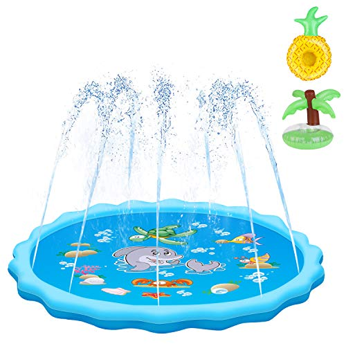 QPAU Sprinkler for Kids, Sprinkle and Splash Play Mat 68
