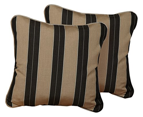 Mozaic Company AZPS0051 Indoor Outdoor Sunbrella Square Pillow with Corded Edges, Set of 2, 20 x 20, Brown & Black Stripes - Color: Sunbrella Black/ Beige Stripe Materials: Acrylic fabric, filled with 100% recycled polyester fiber Weather, mildew, fade and stain resistant with UV protection - patio, outdoor-throw-pillows, outdoor-decor - 51wJNFawYoL -