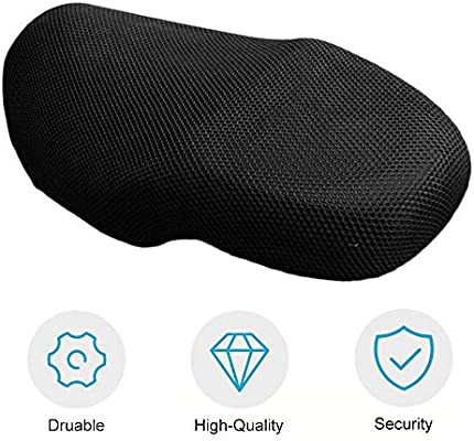 Black Motorcycle Sunscreen Seat Cover Small Holes Prevent Bask Scooter Elastic Waterproof Heat Insulation Cushion Protect Cover