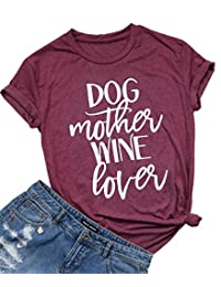 NANYUAYA Women Funny Dog Mother Wine Lover Short Sleeve O-Neck Loose Casual Tee Top