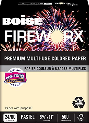 BOISE FIREWORX PREMIUM MULTI-USE COLORED PAPER, 8 1/2'' x 11'', Letter, Flashing Ivory, 24 lb., 5000 Sheets/Carton, 40 Cartons/Pallet by Boise Paper (Image #1)