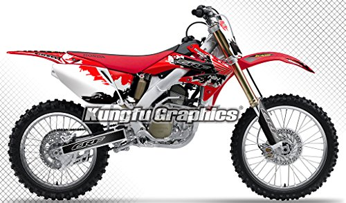 Graphic Kit Red Stock - Kungfu Graphics Custom Decal Kit for Honda CRF250R 2006 2007, Red Black White