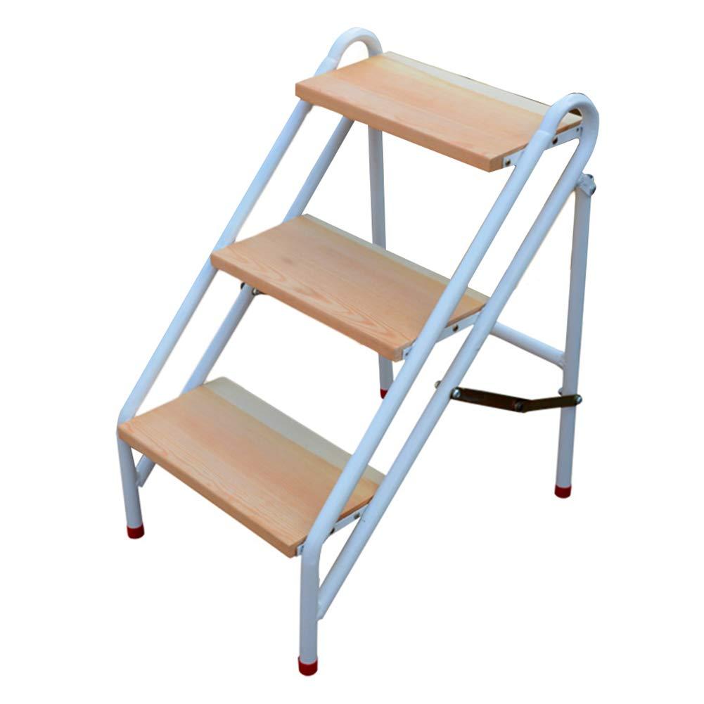 CAIJUN Sgabello Ladder Multiuso Pedale in Legno Massello Telaio in Acciaio al Carbonio Pieghevole Antiscivolo Arrampicata, 2, 3, 4 Scalini Multiuso Chair