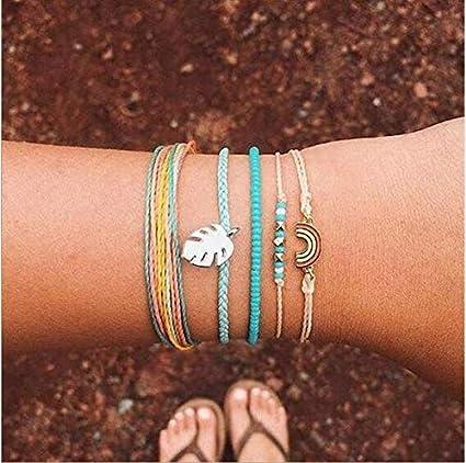 Cathercing Wrap String Bracelet for Girls Women Jewelry Bracelet Strand with Rainbow Leaf Boho Anklet Bracelet Set Adjustable Handmade Braided Rope Summer Beach Jewelry Gift for Teen Girls 5 Pack