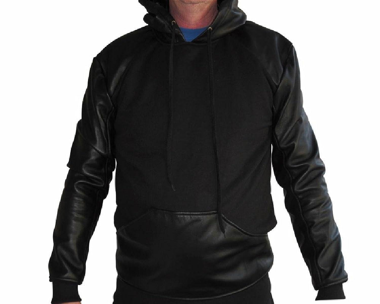 Men's Leather and Fleece Hoodie S - 10XL