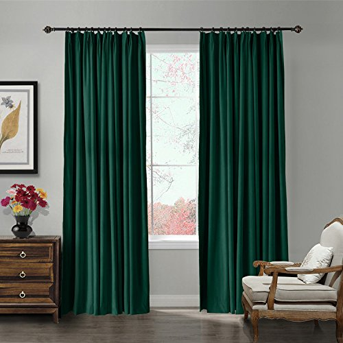 TWOPAGES 100 W x 84 L pinch pleated curtains Room Darkening Velvet Curtain Drapery Panel for Traverse Rod Or Track, Living Room Bedroom Meetingroom Club Theater Patio Door (1 Panel), Moss For Sale