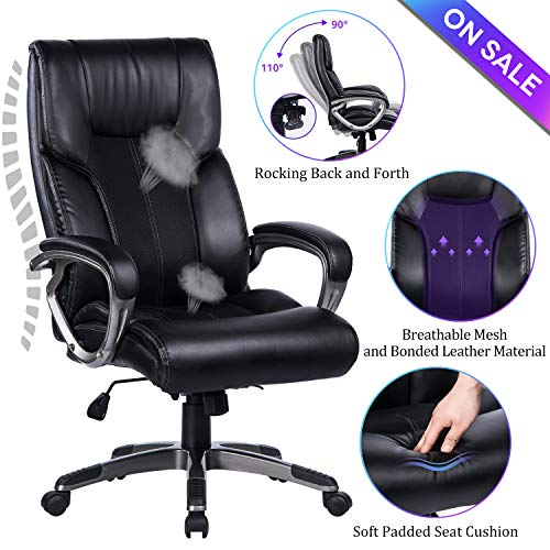 VANBOW High Back Office Chair - 90°-110°Rocking and Lock Function PU Leather & Mesh Executive Computer Desk Chair, Thick Padding for Comfort and Ergonomic Design for Lumbar Support, Black ()