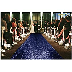 Sequin Aisles Floor Runner-4FTX15FT Wedding Aisle Runner (Navy)