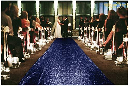 Sequin Aisles Floor Runner-4FTX15FT Wedding Aisle Runner (Navy) ()
