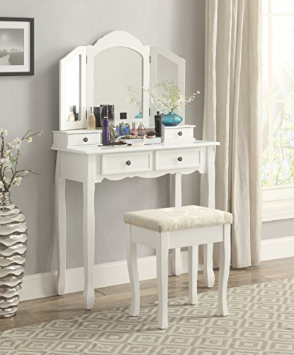 Roundhill Furniture Sanlo White Wooden Vanity, Make Up Table and Stool Set RH 3413WH