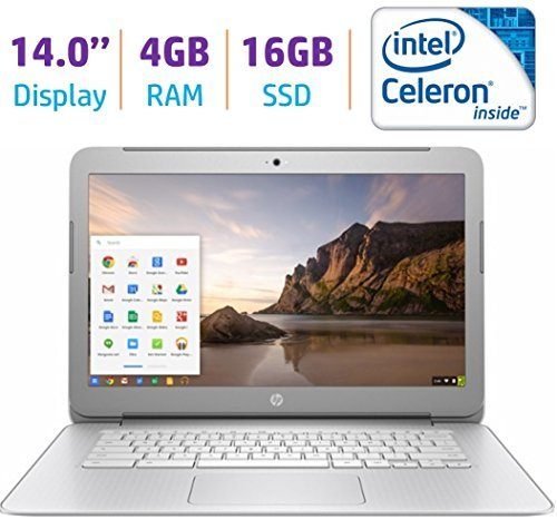 2017 Premium HP 14-inch Chromebook HD SVA (1366 x 768) Display Intel Celeron Dual Core Processor 4GB DDR3L RAM 16GB eMMc HDD 802.11AC WIFI HDMI Webcam Bluetooth Stereo speakers Chrome OS