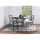 Round Table With 4 Matching Chairs 5 Piece Kitchen Dining Set Grey
