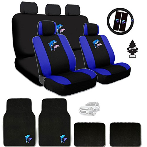 Dolphin Design Front Low Back Universal Size Bucket Seat Covers, 5 Head Rest Covers, Rear Seat Cover, Steering Wheel Cover, Shoulder Pads,Carpet Vinyl Dolphin Logo Floor Mats Set and Air Freshener (Toyota Dolphin)
