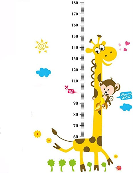 LCHULLE Niños Altura Pegatinas de Pared Jirafa Animales Medidor Adhesivo Vinilos Decorativo Etiqueta Infantil Medir Altura para bebé niños Habitación Dormitorios Hogar: Amazon.es: Bebé