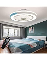 LED-plafondventilator met lamp, moderne onzichtbare ventilator, plafondlamp, ultra-stil, met verlichting, voor eetkamer, slaapkamer, woonkamer, dimbaar LED met afstandsbediening, diameter 50 cm