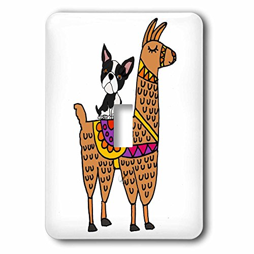 3dRose All Smiles Art Animals - Funny Cool Boston Terrier Dog Riding Llama Cartoon - Light Switch Covers - single toggle switch (lsp_270055_1)