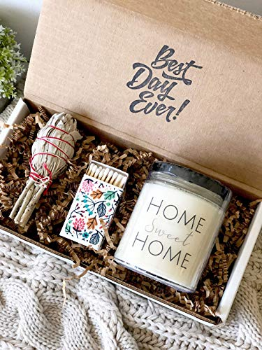 - New Home Housewarming Gift - Sage Smudge Stick with Lavender & Sage Soy Candle Set