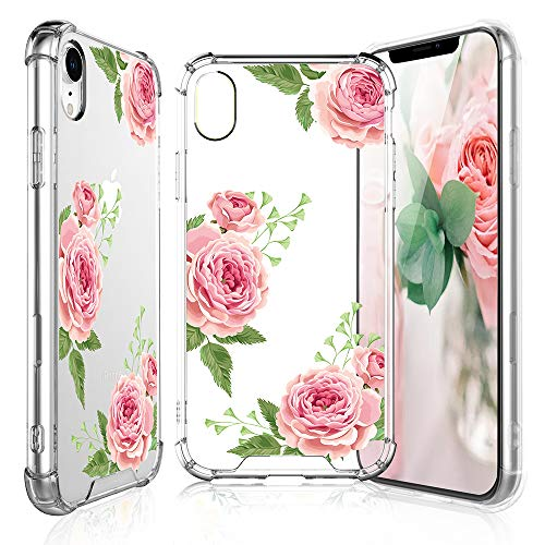 - TJS iPhone XR Case Tempered Glass Screen Protector, Clear Flower Pattern Design Ultra-Thin Transparent Girls Women Floral TPU Cover Apple iPhone XR (6.1-Inch) – Pink Rose