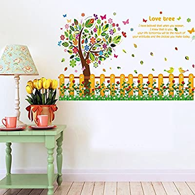 Wallpark Colorful Big Tree Flower Fence Skirting Board Removable Wall Sticker Decal, Children Kids Baby Home Room Nursery DIY Decorative Adhesive Art Wall Mural