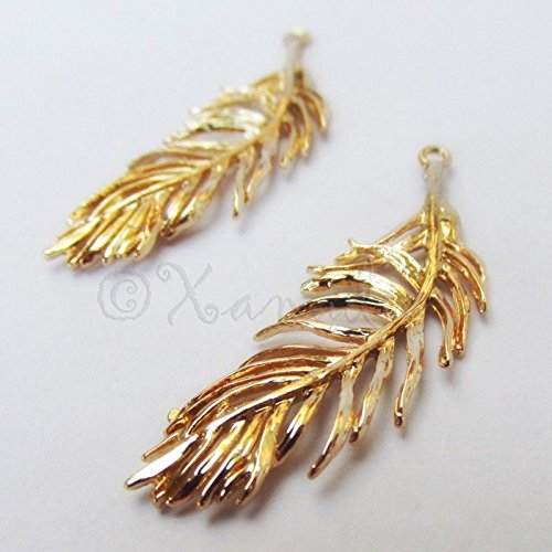 - OutletBestSelling Pendants Beads Bracelet Gold Feather Charms 38mm 14k Gold Plated Charm Pendant 1pcs