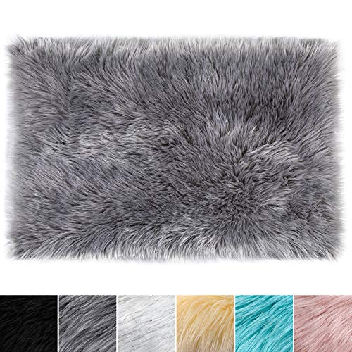 LOCHAS Ultra Soft Silky Fluffy Shag Faux Sheepskin Area Rug, Bedside Rugs for Bedroom Living Room Nursery Floor Carpet, 2 x 3 Feet, Grey (Soft White Super Rug)