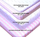 Cambria Baby 100% Organic Cotton Fitted Sheets Pack 'n Play and Other Portable Mini Cribs. Fits on Playards & Mattresses up to 5 in Thick. Pink/White Flowers and Stripes Patterns. 2 Pack