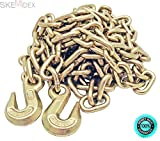 SKEMiDEX---3/8'' 20' G70 Tow Chain Tie Down Binder Flatbed Truck W/ Hooks Grade 70. Each 20' Chain has 2 3/8'' Clevis Hooks on each end 6600 lbs Work Load Limit