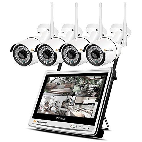 Jennov Wireless Security Camera System, 4 Channel CCTV Wireless Security IP Camera System With 1080P 12