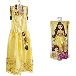 Disney Beauty & The Beast Live Action Belles Ball Gown Costume and Disney Princess Royal Shimmer Belle Doll Bundle