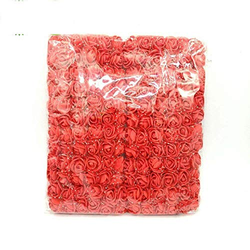 Artificial Flower Fake Flowers Multicolor Rose Wedding Flower Decoration Scrapbooking Fake Rose Flower 144pcs 2cm Mini Foam Rose (red)