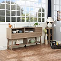 Modern Multi-Storage Sideboard Dining Buffet, 4 Open Shelves of Various Sizes for Displaying Kitchenware, 3 Drawers on Metal Glides for Enclosed Storage, Wood, Light Oak + Expert Guide