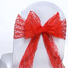 BalsaCircle 10 Red New Lace Chair Sashes Bows Ties - Wedding Party Ceremony Reception Decorations Cheap Supplies Wholesale