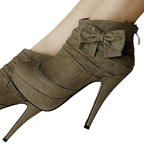 Getmorebeauty Women's Army Noble Bows Platform Stiletto High Heel Ankle Boots Shoes 8 B(M) US