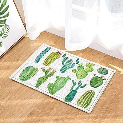 EdCott Verde Tropical Cactus Planta Verde Dormitorio Alfombra Interior Alfombra Exterior Puerta Frontal Alfombra Cocina Puerta Alfombra ba/ño 40x60cm hogar Color Cuadrado Alfombra Personalidad