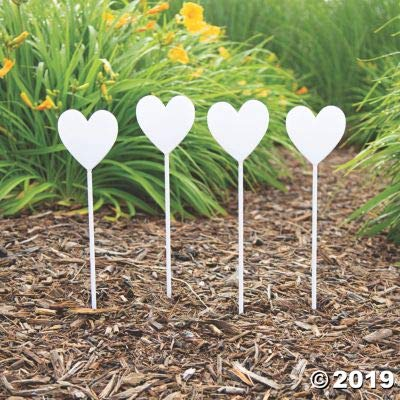 HEART SHAPED YARD STAKES 12PC - Party Decor - 12 Pieces: Toys & Games