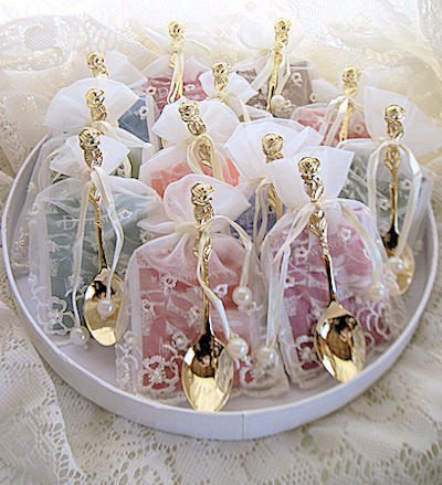 Amazon.com : Tea Bag Tea Spoon Bridal Wedding Favors in Embroidered ...