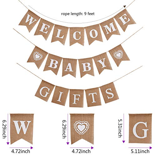 3 Pieces Welcome Baby Banner Gift Burlap Banner Baby Shower Banner Bunting Garland for Baby Shower Party Ornament Favors