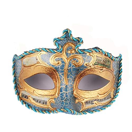 Mask Mardi Gras Leather (YUFENG Mardi Gras Ladies Venetian Colombina Venice Scene Mask Masked Ball Masquerade Fancy Dress (Blue))