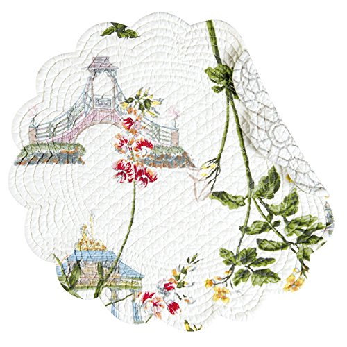 - C&F Home - Garden Folly Pattern Quilted Cotton Placemat, 17 inch Round Set of 4