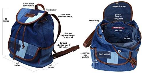 Unionbay Denim Backpack Handbag with Adjustable Faux Leather Straps by UNIONBAY (Image #5)