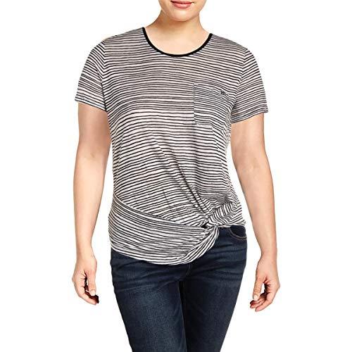 (LAUREN RALPH LAUREN Womens Daharlyn Knit Striped T-Shirt B/W XL White/Black)
