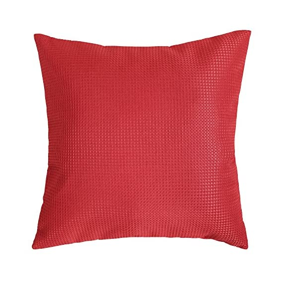 Deconovo Durable Checkered Pattern Throw Pillowcase Cushion Cover with Invisible Zipper for Sofa, 18x18 Inch, Red - SOLID FABRIC: Deconovo cushion covers are crafted with 100 percent high quality polyester fabric. Our cushion cases are solidly woven, produced with premium grade material. The fabric is heavy and strong enough to resist to wear. WAFFLE PATTERN: This throw pillow case is woven on the surface and interior with a waffle design that gives a luxury and elegant look to the cushion. This waffle pattern revamps and refines the room's decoration, giving it a fashionable and opulent decor appearance. HIDDEN ZIPPER: The throw cushion case offers an easy to use invisible zipper closure on one side. The zipper color improves the cushion cover appearance and eases the insertion and removal. Decorative faux linen cushion cover is perfect for sofa, couch, chair, bed, school, travel and naps. - living-room-soft-furnishings, living-room, decorative-pillows - 51wJRzvnOCL. SS570  -