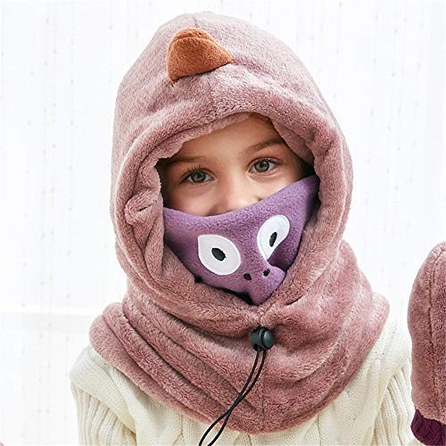 PinPle Girls Boys Winter Warm Face Cover Windproof Cap Coral Fleece Balaclava with Gloves Children's Hat
