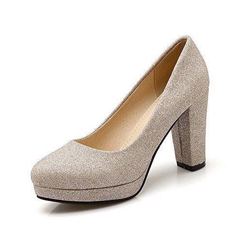 VogueZone009 Damen Hoher Absatz Eingelegt Ziehen auf Weiches Material Rund Zehe Pumps Schuhe, Weiß, 34