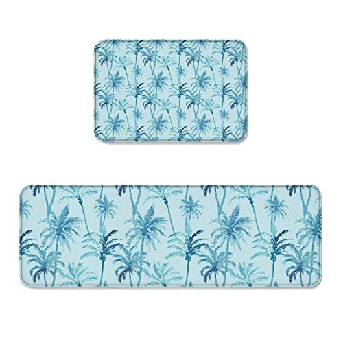 Sunday Palm Set (Kitchen Mat Doormat Runner Rug Set of 2, Kids Area Rug Bedroom Rug Non-Slip Rubber Doormats Tropical Fresh Coconut Palm Tree Dreamlike Summer Holiday Watercolors Picture, 15.7x23.6in +15.7x47.2in)
