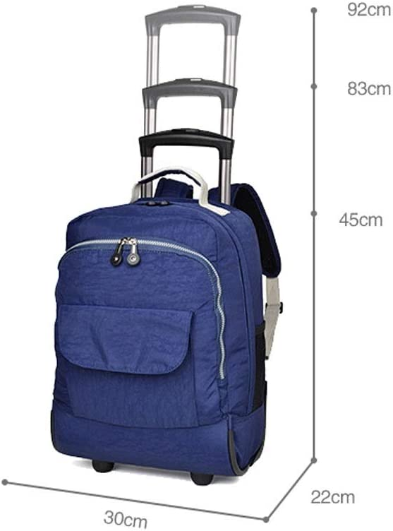 Color : Blue FANQIECHAODAN Double Lever Bag Style Ultra Light 18 Inch Canvas Rain Travel Lift Pull Light Bag,Travel Backpack with Wheel Multi-use Rolling