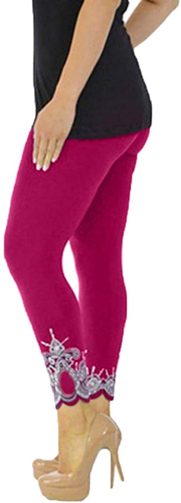 RUIVE Women/'s Pants Exercise Gym Sport Yoga Print Solid Workout Mid Waist Running Fitness Elastic Plus Size Leggings Capri