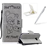 Case For Samsung Galaxy S7,Smart Case for Samsung Galaxy S7,Herzzer Stylish Cute Bear Don't Touch My Phone Design PU Leather Wallet Case Stand Flip Case with Credit Card Slot for Samsung Galaxy S7,Grey