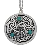 Handmade Celtic Triskele 3 Amazonite Gemstones Pewter Chain Pendant